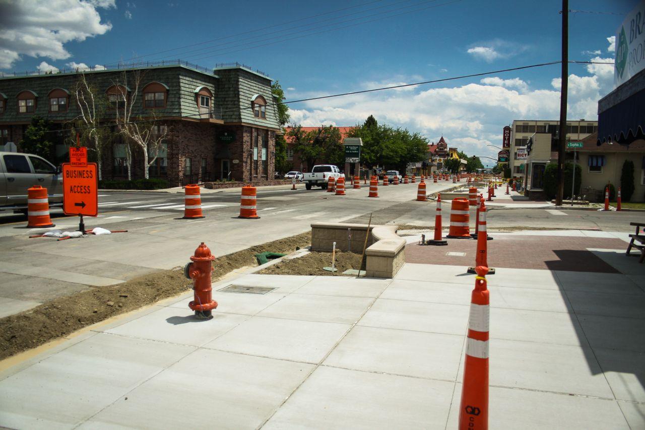 Downtown Sidewalk Construction Around Carson